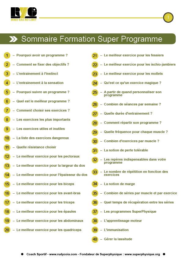sommaire super programme